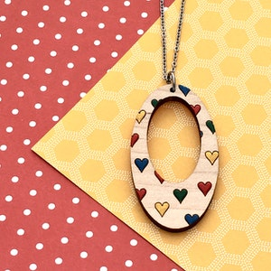 Everyday Confetti Oval Necklace - Hearts
