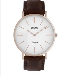 OOZOO WATCH 40MM WHITE FACE + ROSE GOLD CASE + BROWN LEATHER BAND