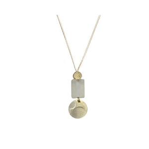 Small Square Glass and Disc Pendant Necklace