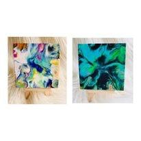Original Mini Canvas Paint Poured Artworks- Colour Dash & Flow