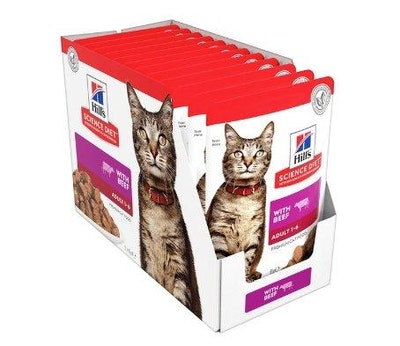 Hills Hill's Science Diet Adult Optimal Care Beef Cat Food pouches 12x85g