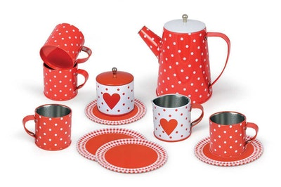 Kaper Kidz 13PCS HEART TIN TEA SET IN MUG