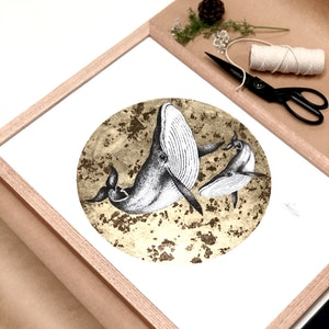 Framed A3 'Whales' Limited Edition Print with Hand-Applied Gold-Leaf Metals.