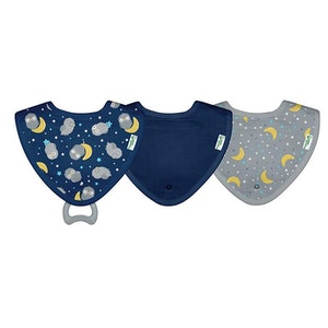green sprouts Muslin Stay-dry Teether Bibs made from Organic Cotton (3pk)-Blue Owl-0/12mo