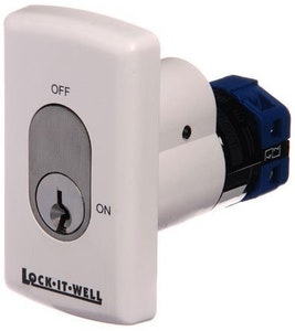 Lock-It-Well OVAL 4 key switch on/off key captive in the ON position in white PVC finish