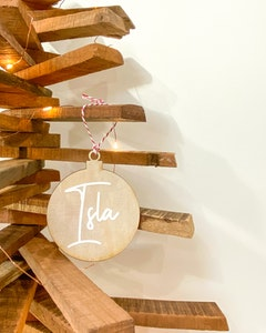 Personalised Wooden Bauble Disc