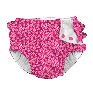i play. Mix & Match Ruffle Snap Reusable Absorbent Swimsuit Diaper-Fuchsia Cabana Geo