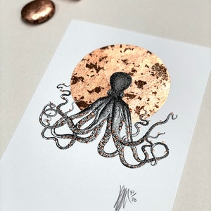 A5 'Octopus' Limited Edition Print with Hand-Applied Gold-Leaf Metals.