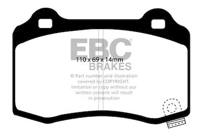 EBC YELLOW STUFF REAR BRAKE PADS for Chrysler 300C SRT8 2006 on DP41788