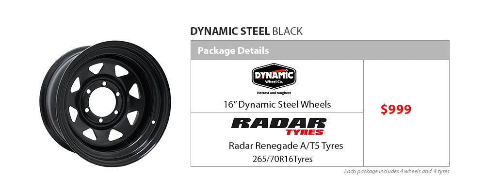 "16"" Dynamic Wheel and Tyre Package $999"