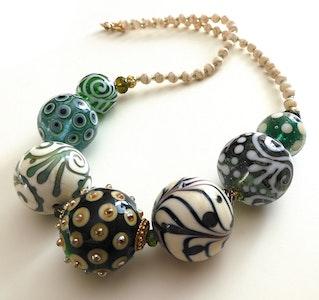"Beadoire Glass Lampwork Glass Bead Necklace ""JADED"" 2020"