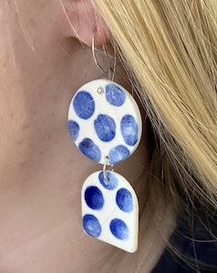 Funky Blue and White Poker Dot Double Drop Earrings on Sterling Silver Wires