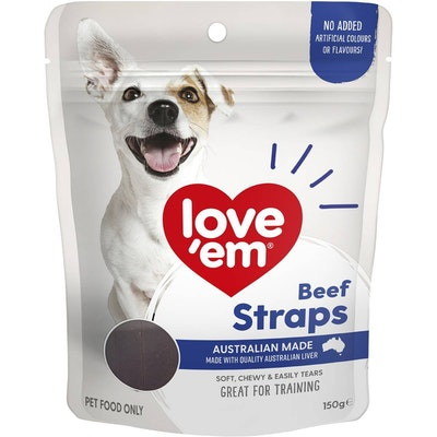 Love'em Love Em Beef Straps Dog Training Chew Treats 150g