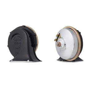 Dual Black with Chrome Grill 12V Universal Snail Horn