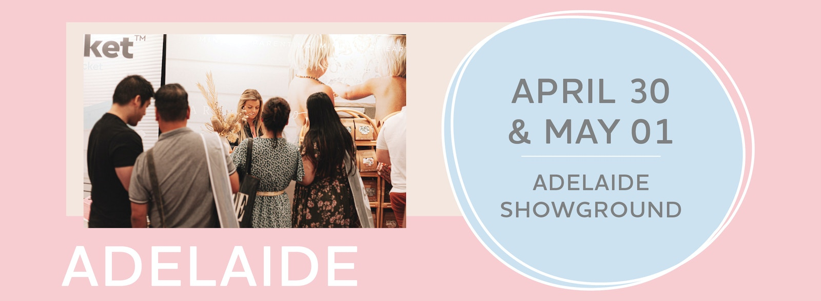 Image of a couple at the expo with a text box that reads Adelaide April 30 and May 01, Adelaide showground