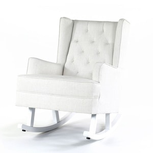 Isla Wingback Rocking Chair Linen White White Legs