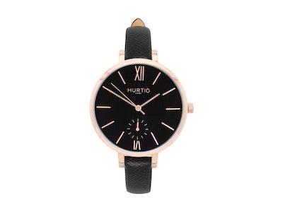 Hurtig Lane Amalfi Petite Vegan Leather Watch Rose Gold, Black & Black