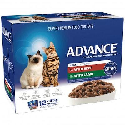 Advance Multi Pack Tender Chunks Adult Beef In Gravy Wet Cat Food 12x85G