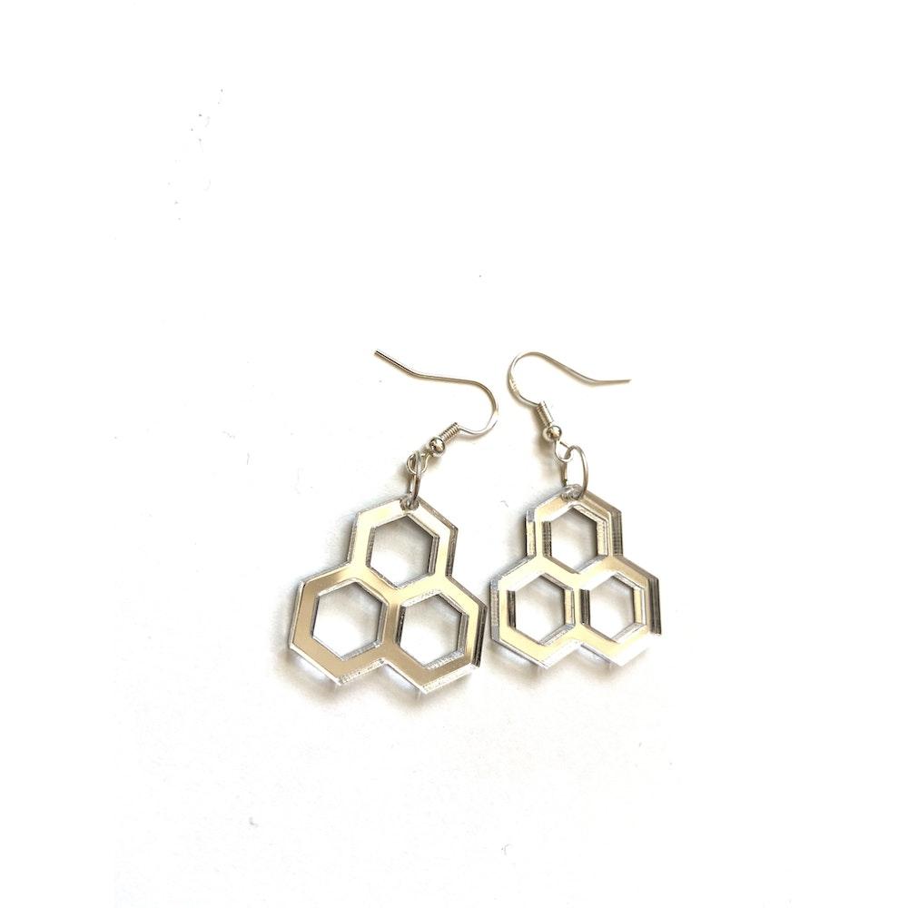 One of a Kind Club Honeycomb Mirror Acrylic Earrings