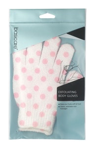 Basic Care Exfoliating Body Gloves White with Pink Dots