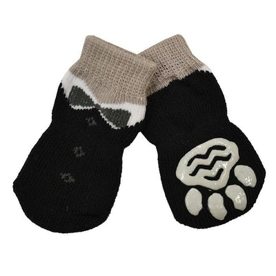 Zeez Non-Slip Sole Knitted Dog Socks Black Tuxedo Set of 4 - 4 Sizes