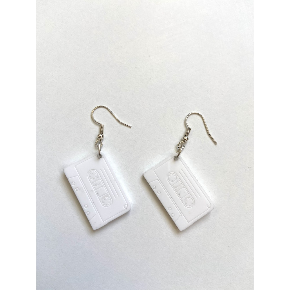 One of a Kind Club White Cassette Earrings