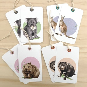 aussie animals gift tag 8 pack.