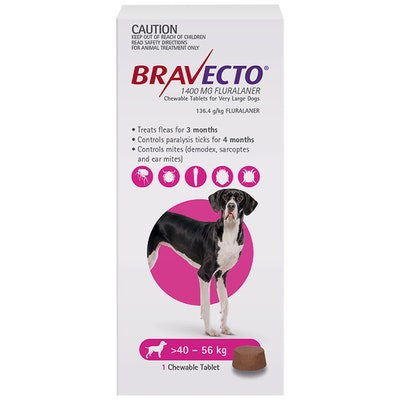 BRAVECTO Dog 3 Month Chew Tick & Flea Treatment 40-56kg Extra Large Purple