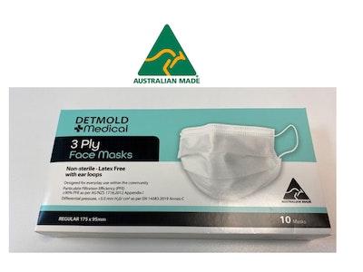 Detmold Medical Australian Made Community Mask Ear Loop Shelf Ready Tray - 10PK (300 masks per carton)