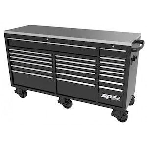 "Roller Cabinet Wide 21 Drawer 73"" USA Sumo Series BLACK SP44825"