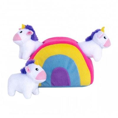 Zippy Paws Unicorn Rainbow Burrow Plush Dog Squeaker Toy 19 x 13cm