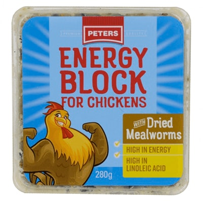 Peters Energy Block w/ Dried Mealworms Energy Supplement for Chickens 6 x 280g
