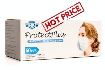 HK - STW HOT Price !!! Volume discount applies. See drop down menu for details. 50 x HKSTW ProtectPlus Disposable Earloop Face Masks ARTG #343444 New Packaging