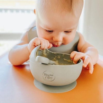 On Chic Baby Clothes Mama & Boo Silicone Feeding Bowl & Spoon - Suction Base & BPA Free - light grey