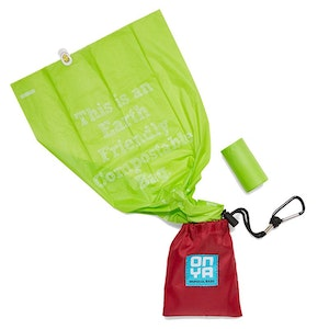 Onya 30 Dog Waste Disposable Bags and Carry Pouch - Chilli