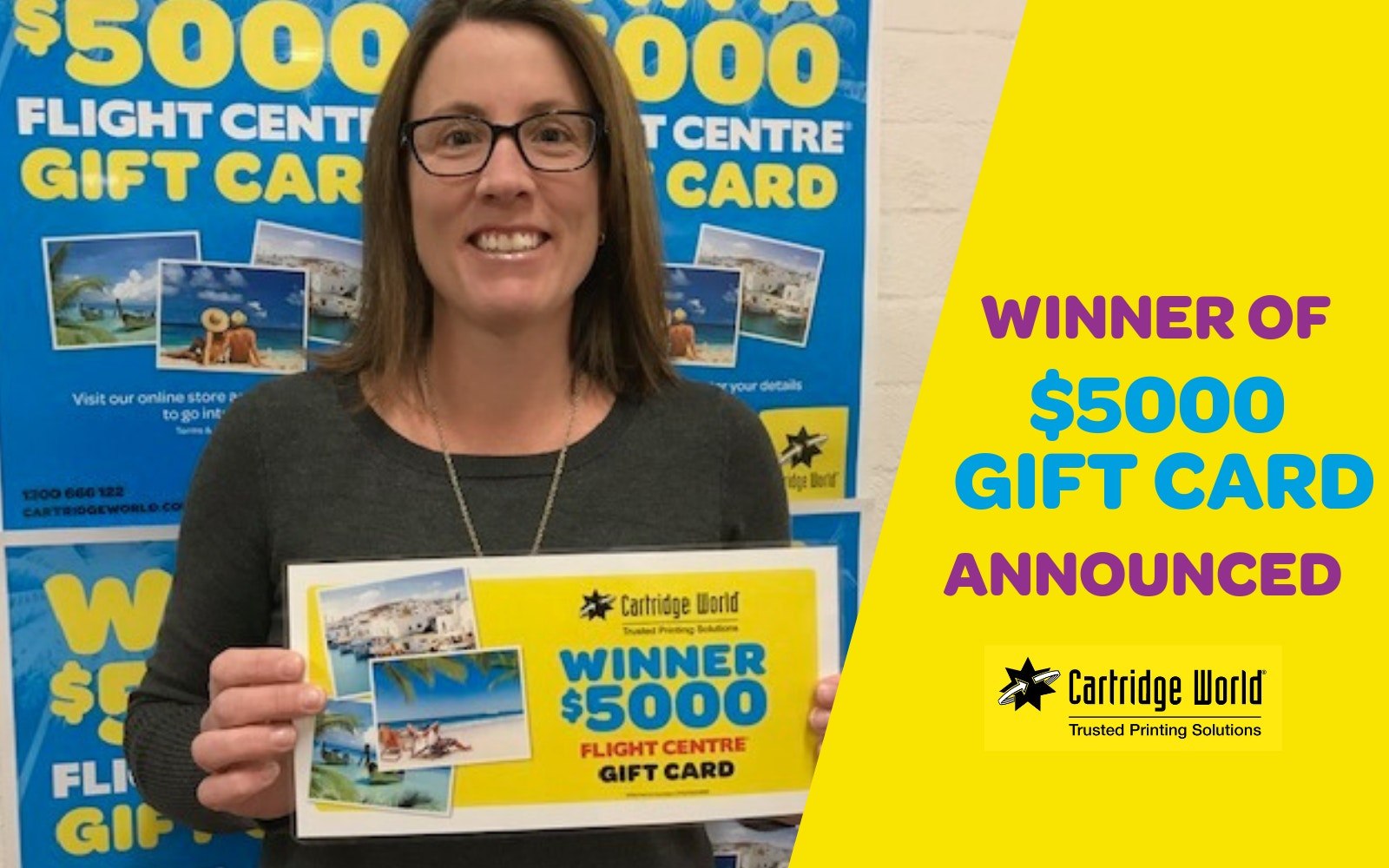 Cartridge World announces winner of $5000 Gift Card