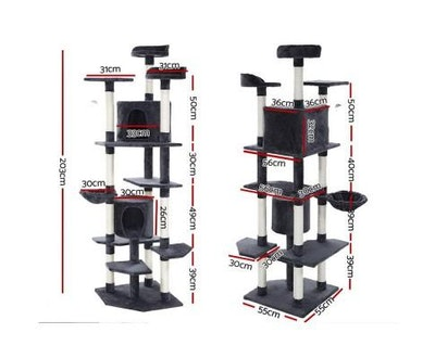 House of Pets Delight Pet Cat Tree Tower Condo House 203cm