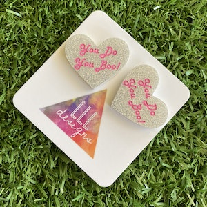 Love Heart Stud Earrings - You Do You Boo! Glitter Statement Studs - These Babes just scream I am ME! AND I am FABULOUS! And SO ARE YOU!!!!!