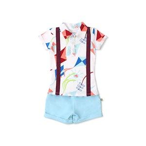 OETEO Australia Road Trip EASYEO Suspenders Romper Shorts (White / Kite )