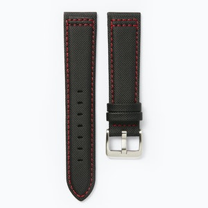 Time+Tide Watches  Black + Red Stitch Nylon Sail Cloth Watch Strap