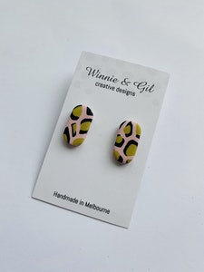 Winnie and Gil Pink and mustard studs
