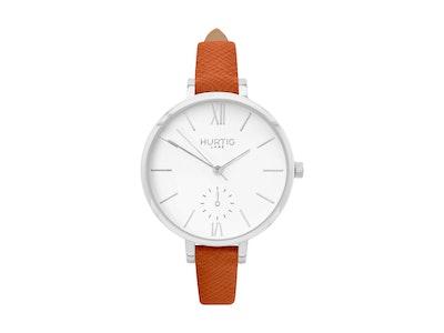 Hurtig Lane Amalfi Petite Vegan Leather Watch Silver, White & Tan