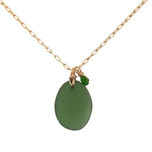 Green Seaglass Necklace on Gold Chain with Tsavorites