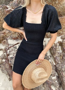 wish the label Lucie Shirred Dress Black Check