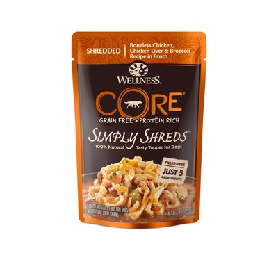 WELLNESS CORE Simply Shreds Chicken, Chicken Liver & Broccoli Wet Dog Food 79G