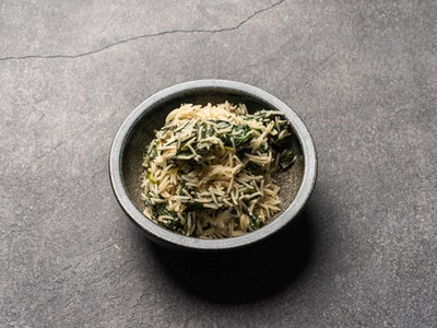 Smoked aged rice, spinach, fennel seed & onions