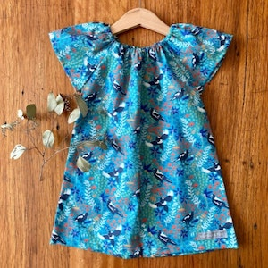 dress - turquoise magpies / organic cotton peasant-style dress green / eco friendly / girl toddler / size 1 2-3 4 5 years