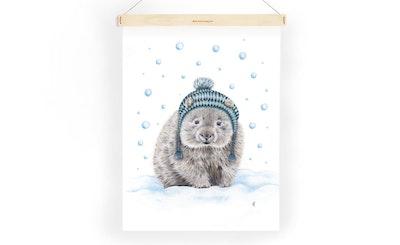 """Tea Towel: """"William"""" Winter Wombat"""