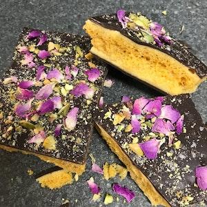 Dark Chocolate Honeycomb - Pistachio + Rose Petal