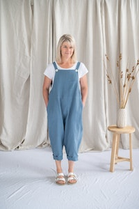 Cropped Crosssback Dungarees - Cornflower